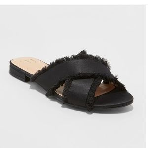 Sephorie Satin Frayed Crossband Slide Sandals 7.5